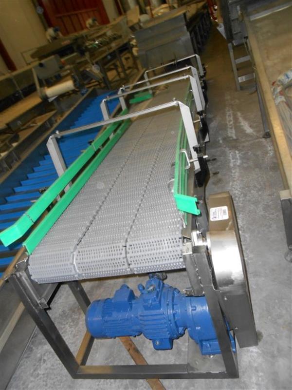 1 cinta transportadora 3 calles con banda modular inox l5.50 m a0.60 m