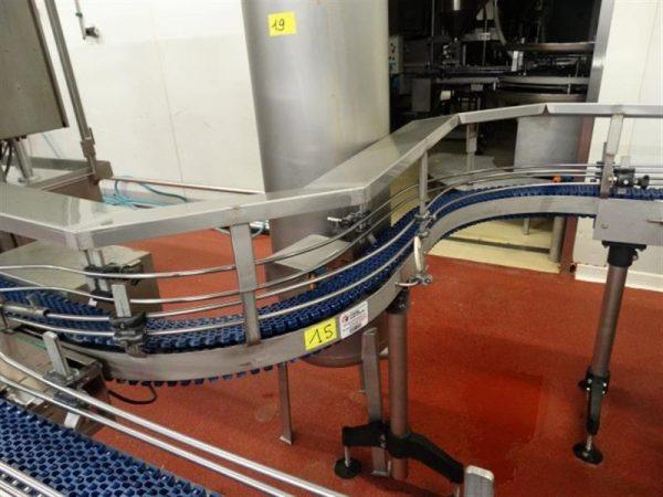 1 cinta transportadora con curva de banda modularacero inox.l 1.90 m.