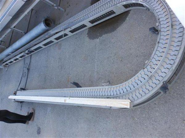 1 cinta transportadora con curva de charnela en acero inox. l 6 m a16 cm.