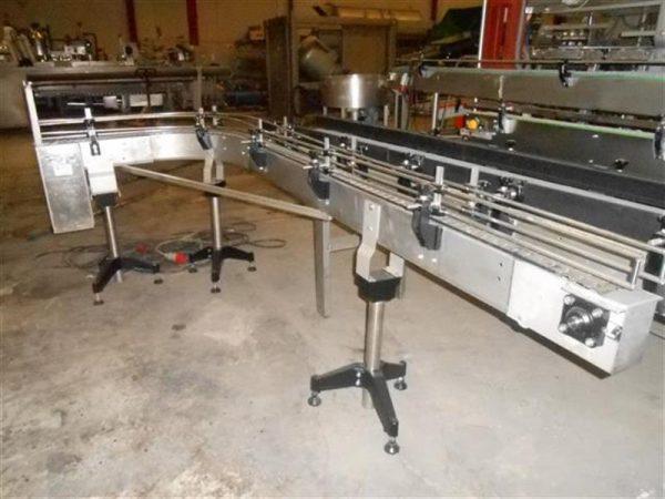 1 cinta transportadora con curva de charnela en acero inoxancho8 cm