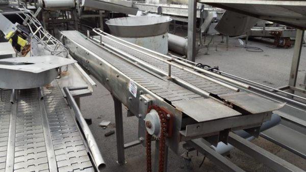 1 cinta transportadora de 2 charnelas inox l 2.60 m a 0.15 m
