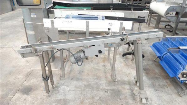 1 cinta transportadora de banda de lona en acero inox. l1.90m
