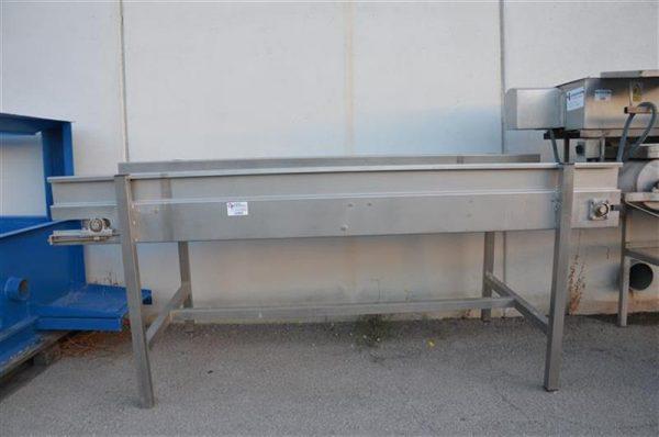 1 cinta transportadora de banda de lona en acero inox.l2.26m a80 cm.