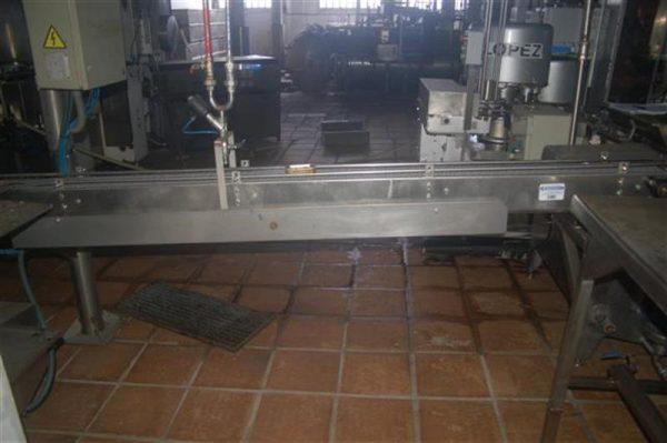 1 cinta transportadora de banda modular en acero inox.l2.95m a12 cm