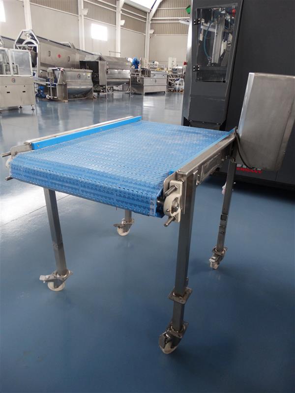 1 cinta transportadora de banda modular inox l 1.22 a 0.69 m