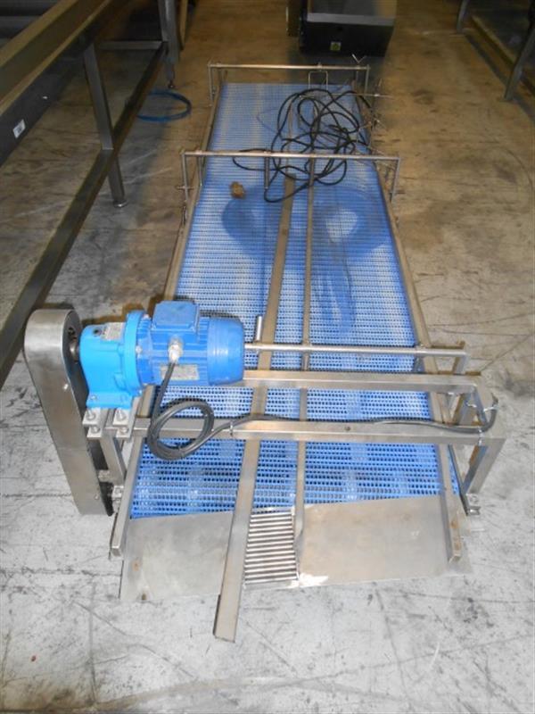 1 cinta transportadora de banda modular inox l 3.20 m a 0.75 m