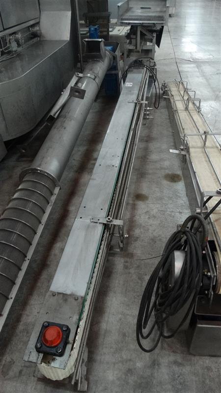 1 cinta transportadora de banda modular inox l 3.32 m a 0.17 m