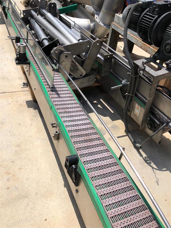1 cinta transportadora de banda modular inox. l 10 m a 15 cm