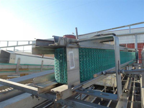 1 cinta transportadora de banda modular inox. l 2.43 m a 15.5 cm