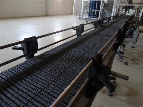 1 cinta transportadora de banda modular inox. l 3.90 m a 30 cm