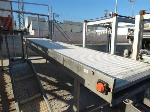 1 cinta transportadora de banda modular inox. l 4.50 m a 76 cm