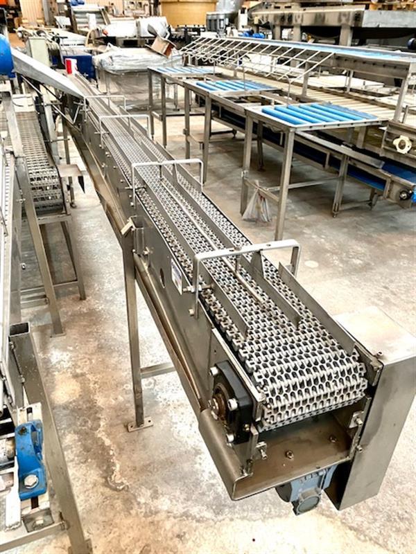 1 cinta transportadora de banda modular inox.l4.70m a35 cm