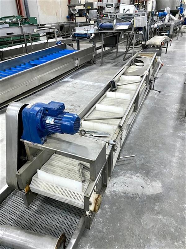 1 cinta transportadora de banda modular inox.l6.51 m a39 cm