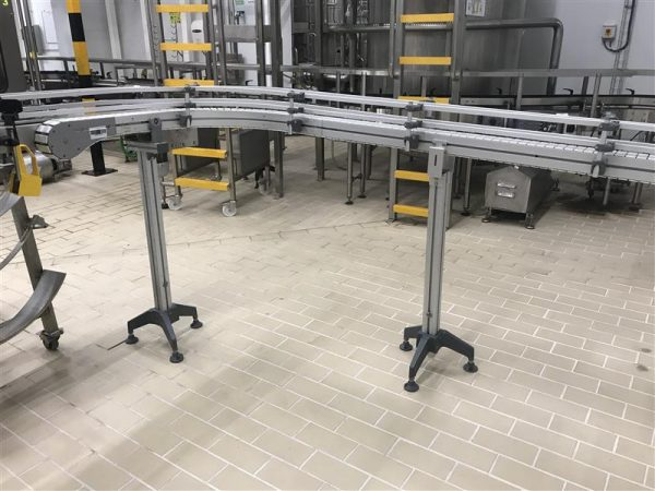1 cinta transportadora de charnela con curva inox l 4.60 m a 5 cm