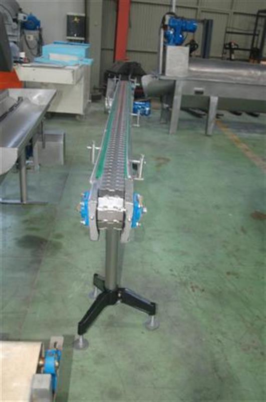 1 cinta transportadora de charnela en acero inox de 12 cm l 3 m