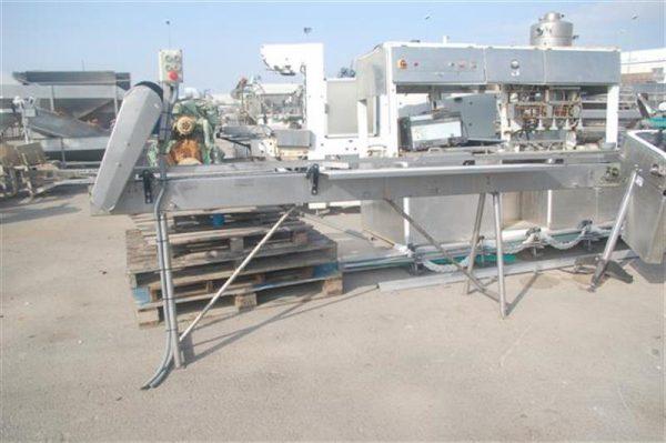 1 cinta transportadora de charnela en acero inox.l3.80 a9cm.
