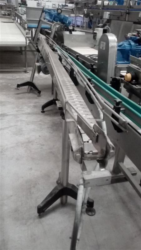 1 cinta transportadora de charnela inox l 3.80 m a 0.08 m