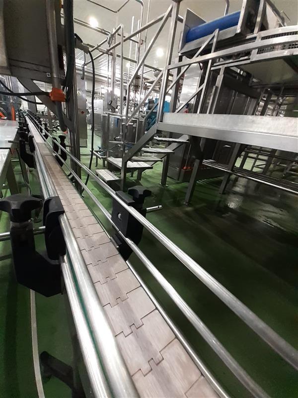 1 cinta transportadora de charnela inox l 5.00 m a8 cm