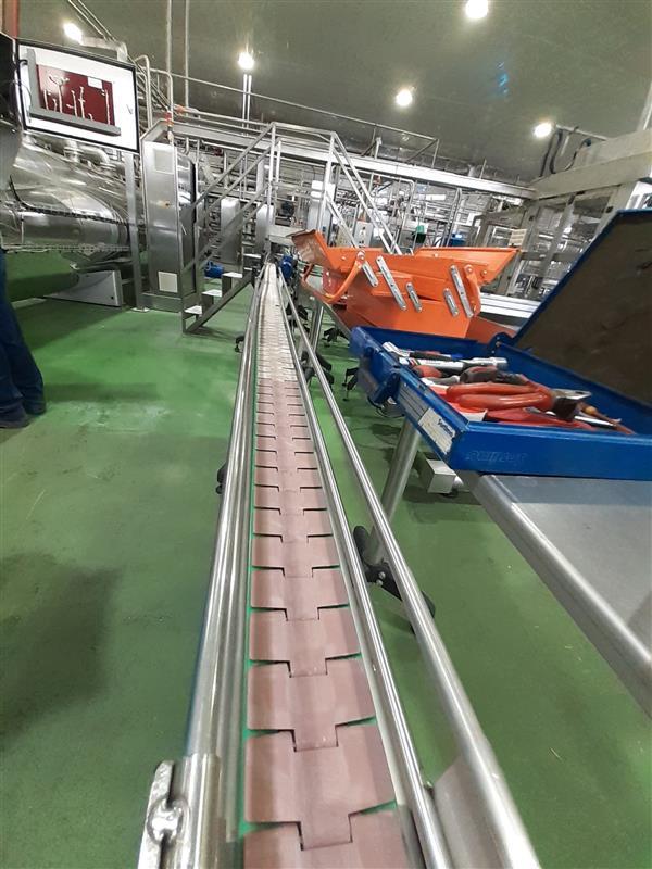 1 cinta transportadora de charnela inox l 6.00 m a 10 cm