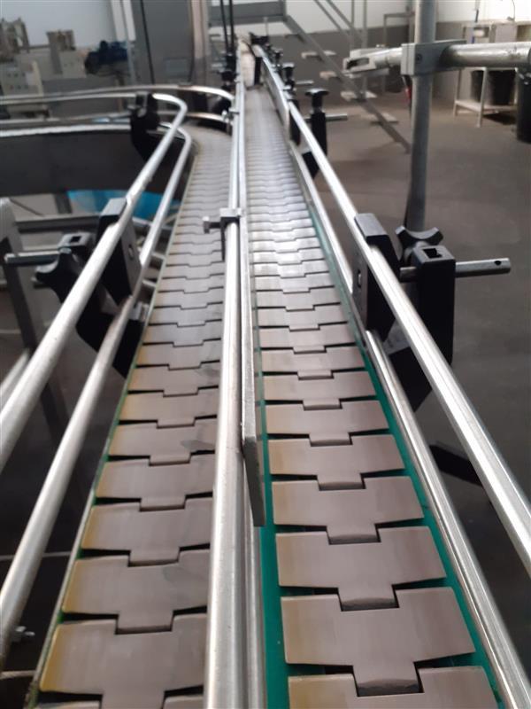 1 cinta transportadora de charnela inox. l 10.20 m a 8 cm