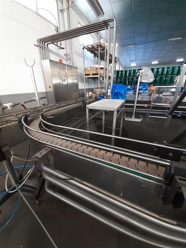 1 cinta transportadora de charnela segui inox. l 7.34 m a 13 cm