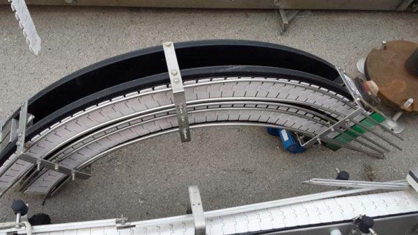 1 cinta transportadora de doble charnela con curva inox l 1.45 a 0.09
