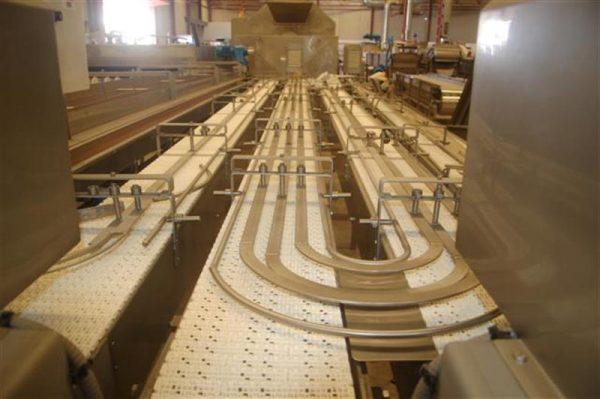 1 cinta transportadora de intralox de 4 calles hermasa l 6.30 m a 23cm