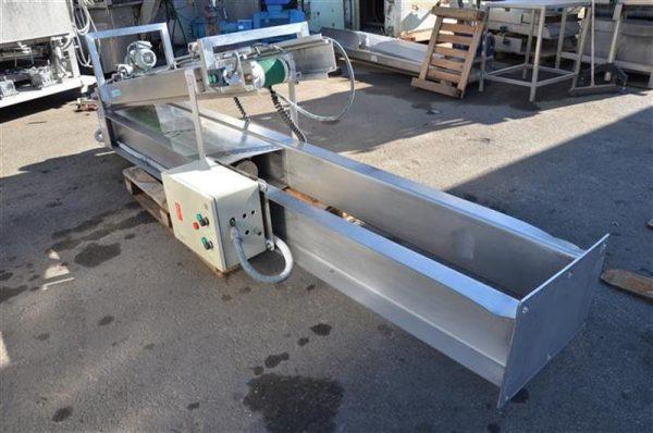 1 cinta transportadora de lona en acero inox de pie. alto3.30m a13cm.