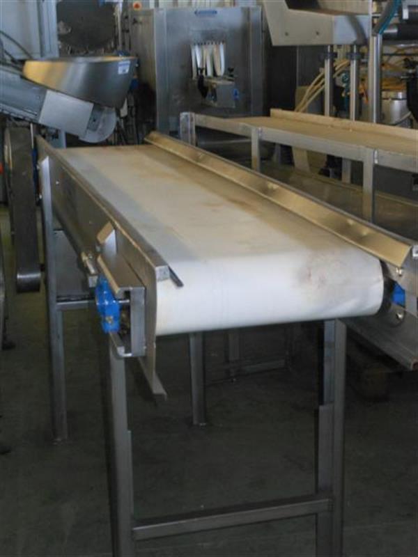 1 cinta transportadora de lona en acero inox. l2.05m a34cm.