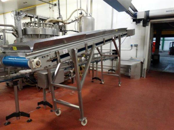 1 cinta transportadora de lona en acero inox. l5.15 m a55cm.