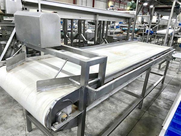 1 cinta transportadora de lona inox. l 4.50 m a 1 m
