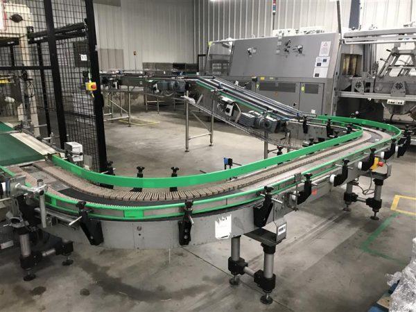 1 cinta transportadora de rodillos con doble curva sidel inox.l 4.20 m a 35 cm
