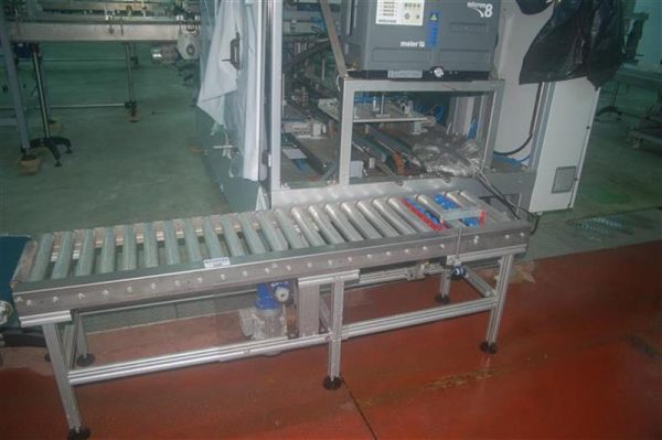 1 cinta transportadora de rodillos en acero inox l 1.90 m