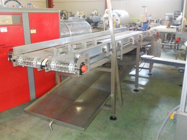 1 cinta transportadora doble perforada en acero inox.l4.13m a84 cm