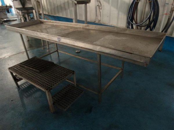 1 mesa de trabajo inox. l 2.8 m a 0.8 m