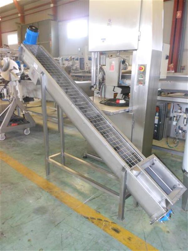 1 sinfin transportador en acero inox.l 2.80 m ancho 22 cm.