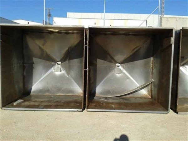 2 balsa rectangular en acero inox. 8000 l 12