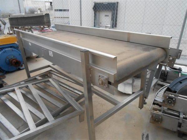 2 cinta transportadora de banda de lona en acero inox.l2.26m a80 cm.