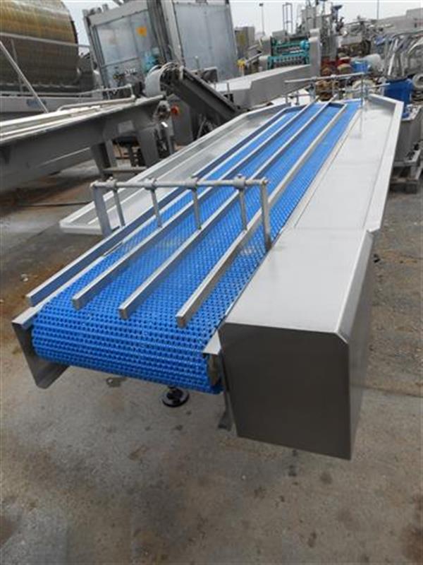 2 cinta transportadora de banda modular en acero inox.l2.95ma1.05m 1