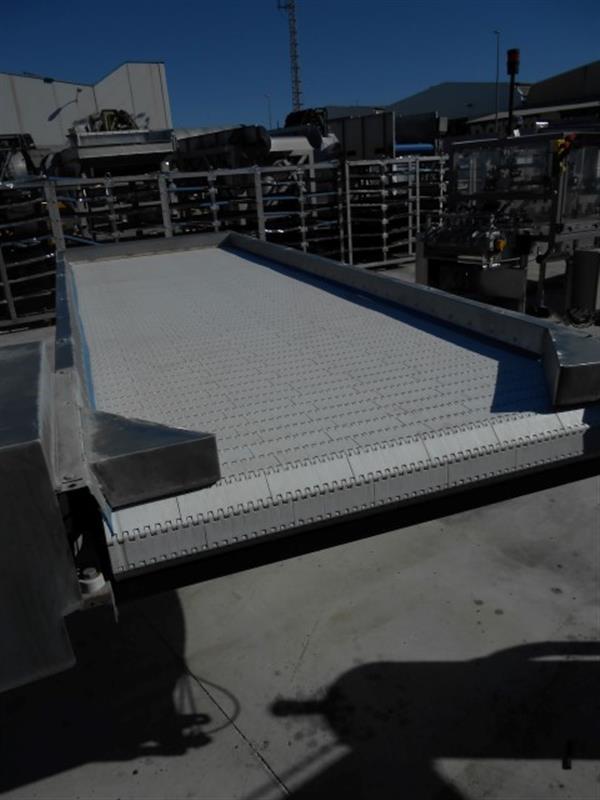 2 cinta transportadora de banda modular inox.l3.61 m a 1.05 m