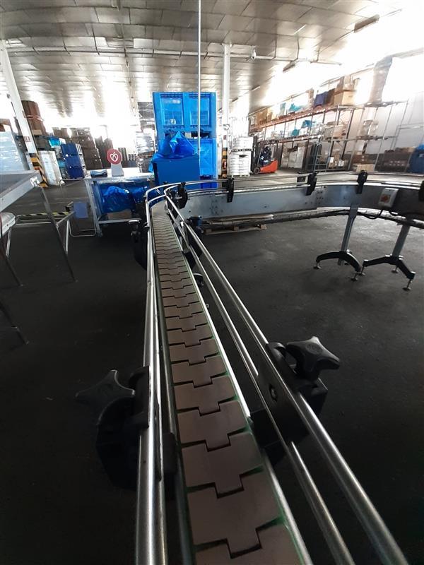 2 cinta transportadora de charnela con curva