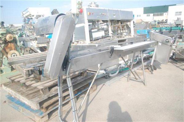 2 cinta transportadora de charnela en acero inox.l3.80 a9cm.