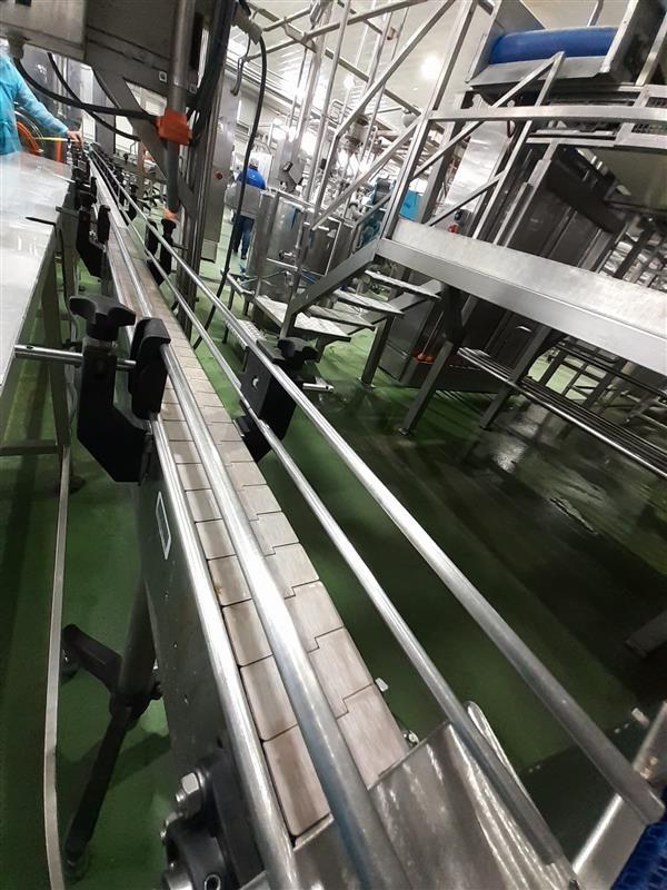 2 cinta transportadora de charnela inox l 5.00 m a8 cm