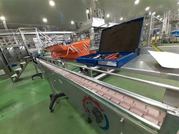 2 cinta transportadora de charnela inox l 6.00 m a 10 cm