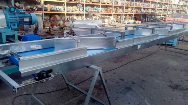 2 cinta transportadora de lona inox l 6.15 m a 0.54 m
