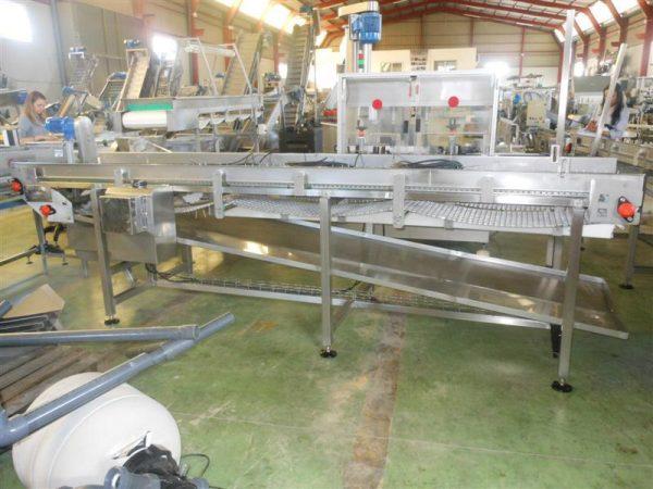 2 cinta transportadora doble perforada en acero inox.l4.15m a84 cm
