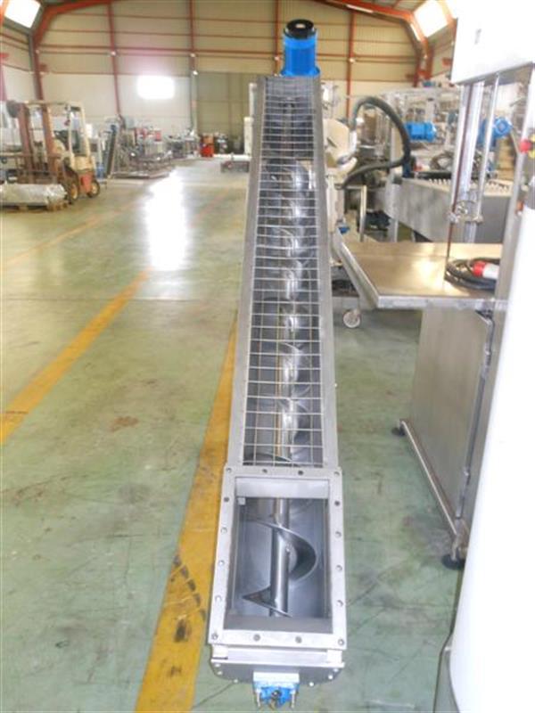 2 sinfin transportador en acero inox.l 2.80 m ancho 22 cm.