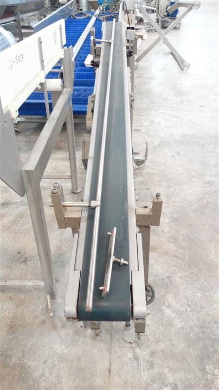 3 cinta transportadora de banda de lona en acero inox. l1.90m