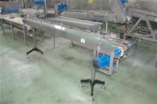 3 cinta transportadora de charnela en acero inox de 12 cm l 3 m