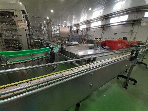 3 cinta transportadora de charnela inox l 6.00 m a 10 cm